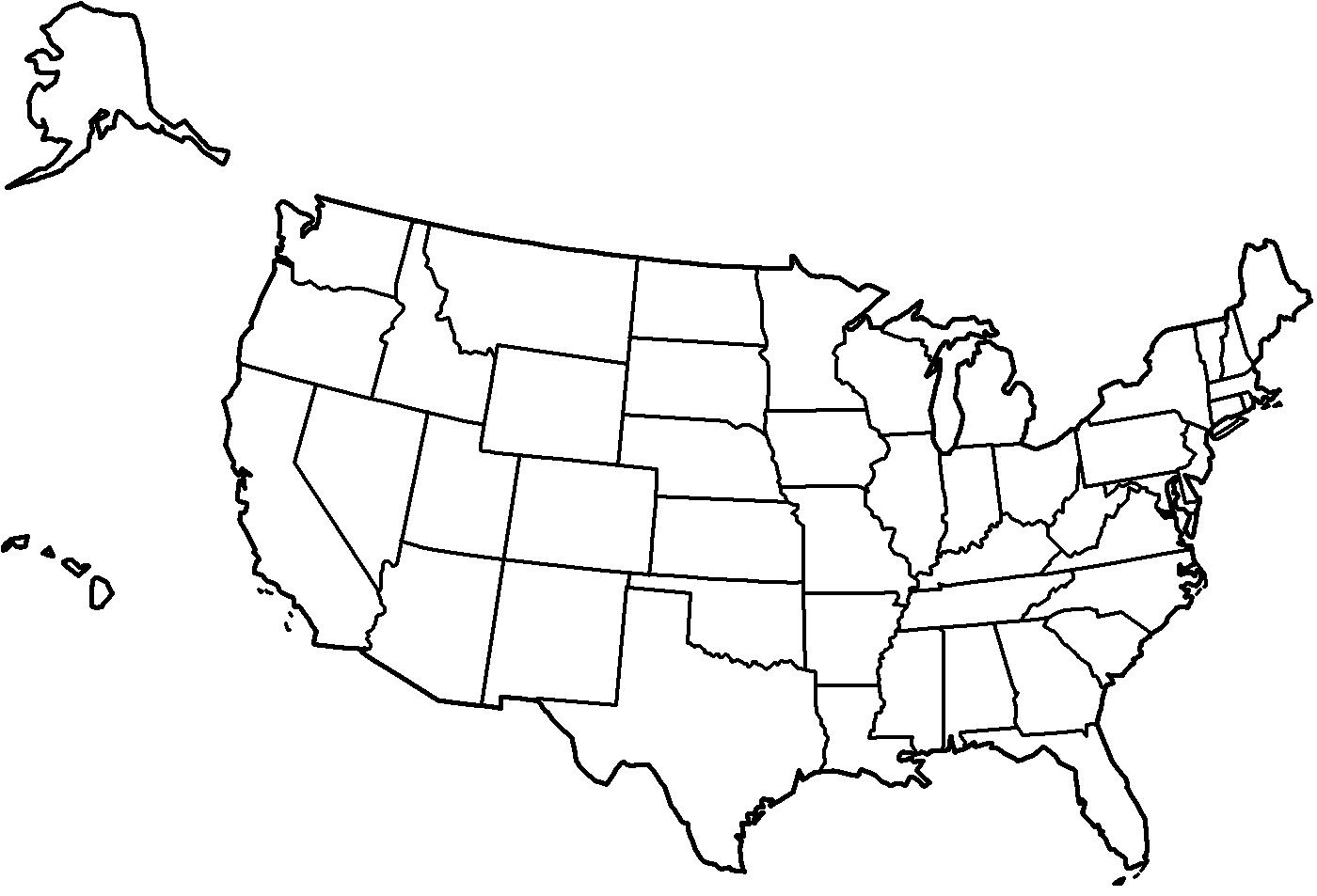 Black and white map of the United States - United States map ...