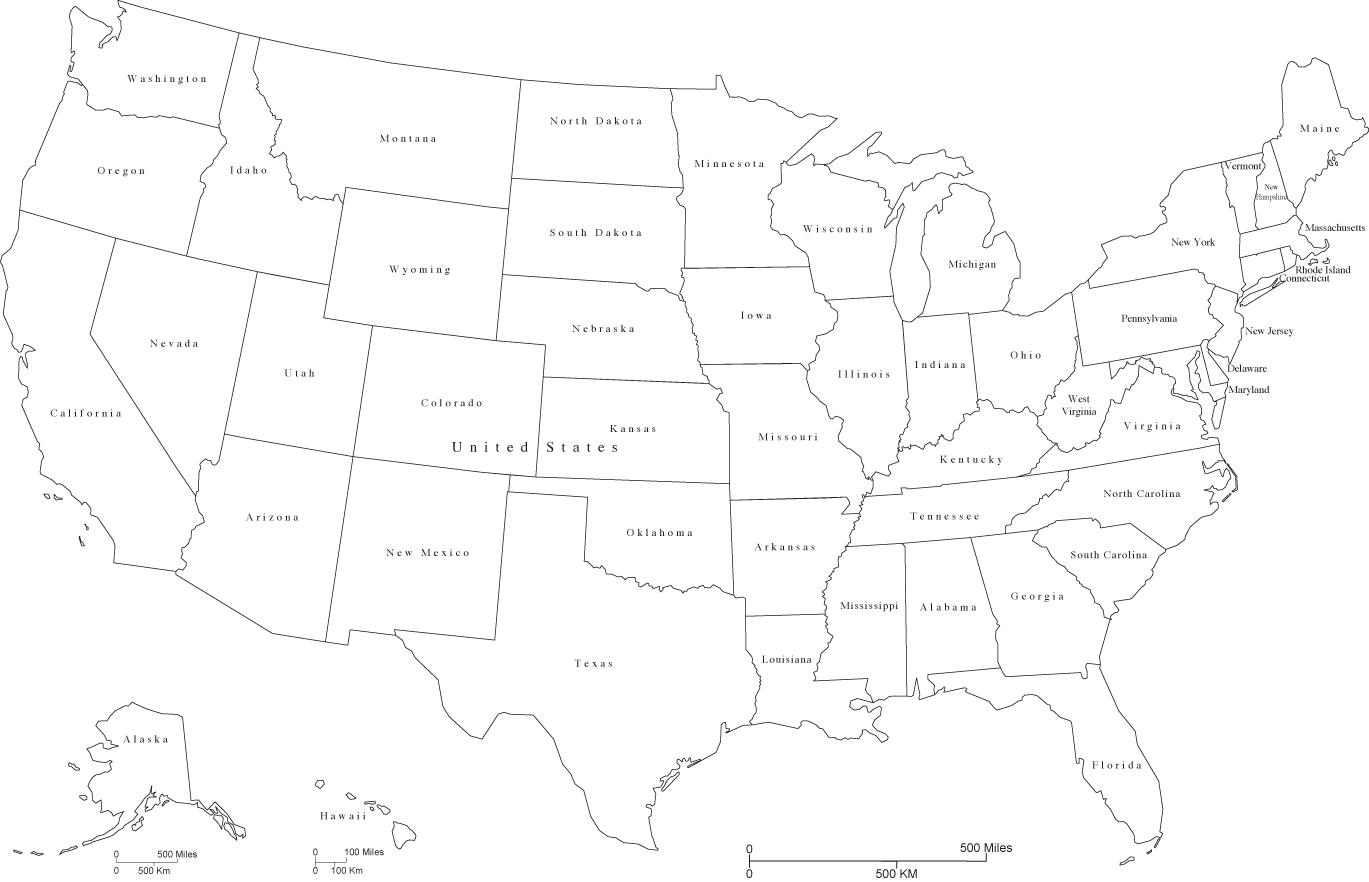 Black And White US Map US Map Black And White Northern America - Us map black and white
