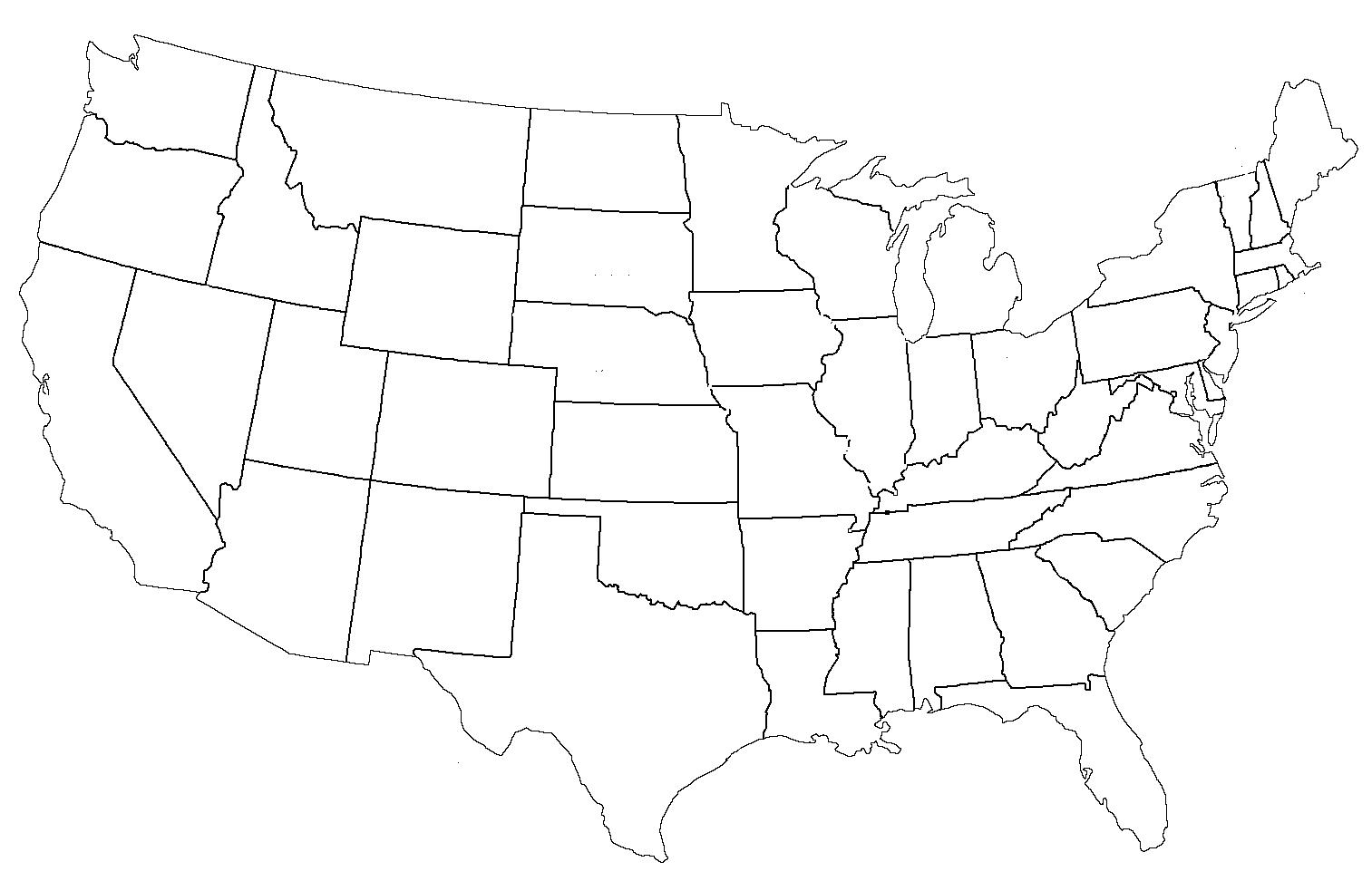 Blank map of US States - US States blank map (Northern ...