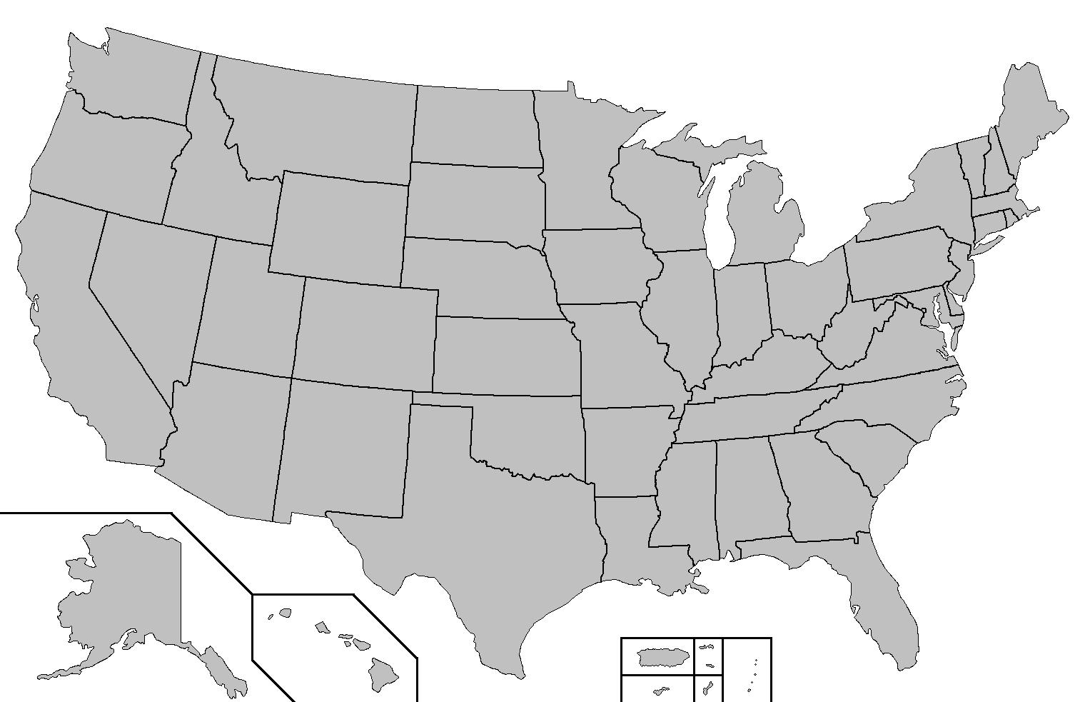 Blank US State map - US State map blank (Northern America ...