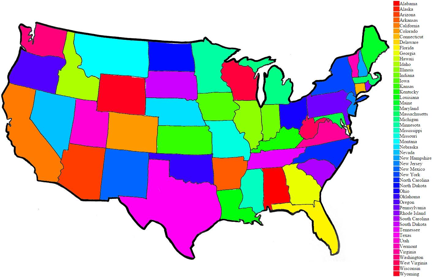Color Coded Map Of Usa.Color Us Map Color Coded Us Map Northern America Americas