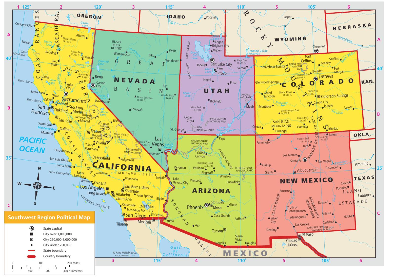 Southwest America Map.Map Of Southwest Usa Map Southwest Usa Northern America Americas