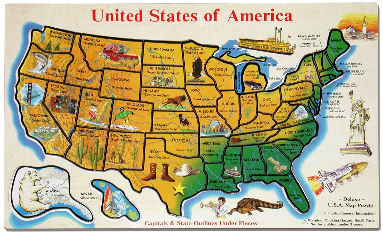 Map of the United States for kids - United States of America ...