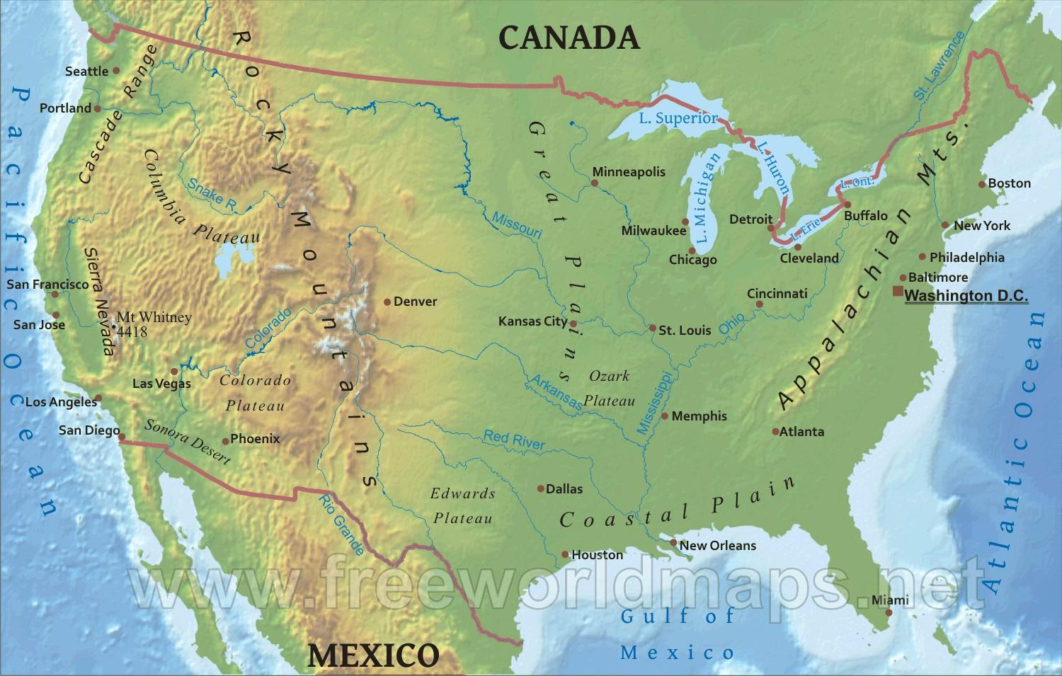 Picture of: Map Of Usa With Mountains And Rivers Map Of Usa With Rivers And Mountains Northern America Americas