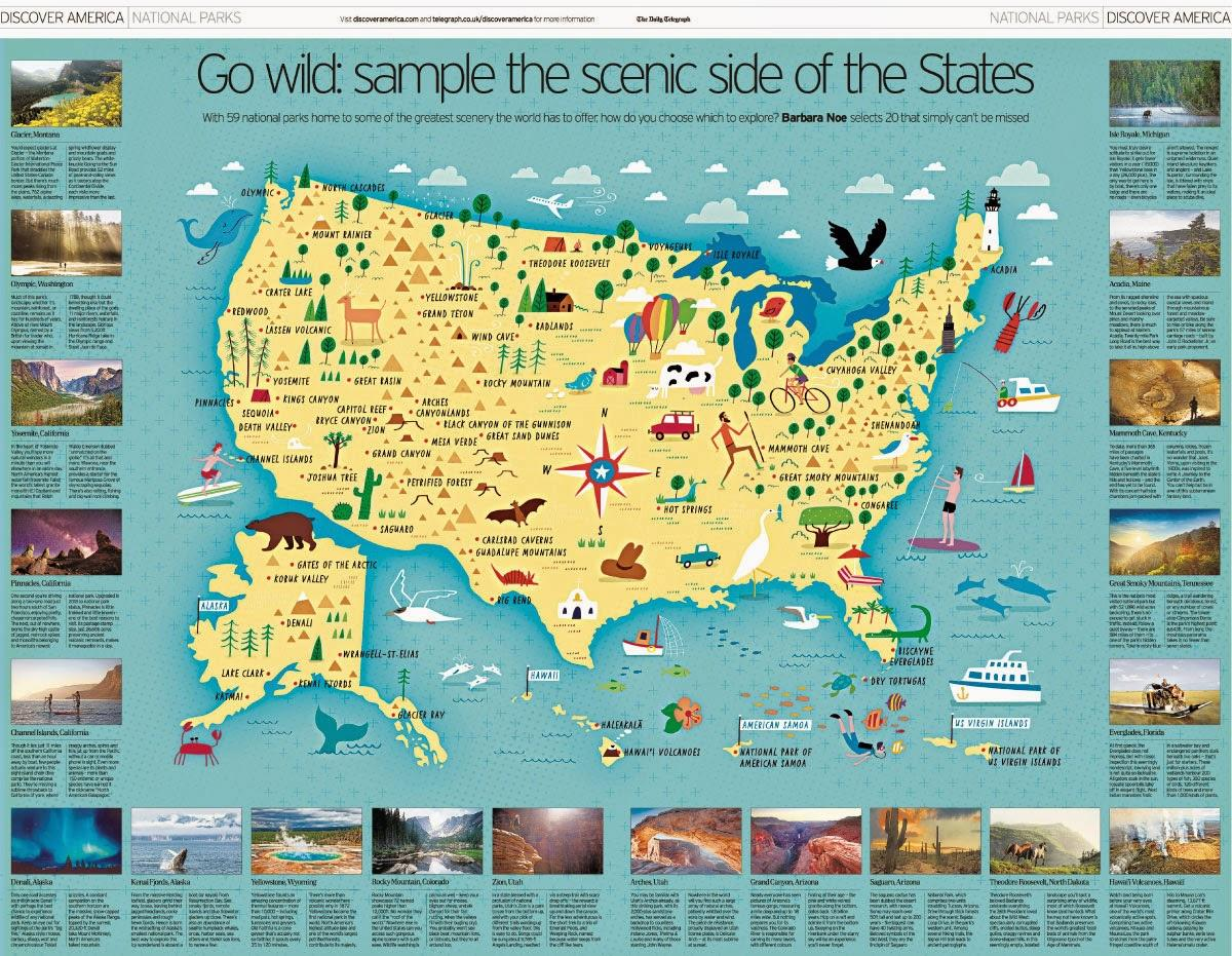 National parks US map - Map US national parks (Northern America ...
