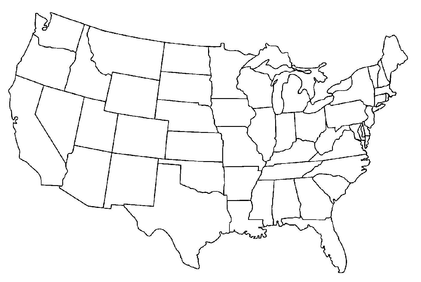 Outline map of USA - Map of USA outline (Northern America ...