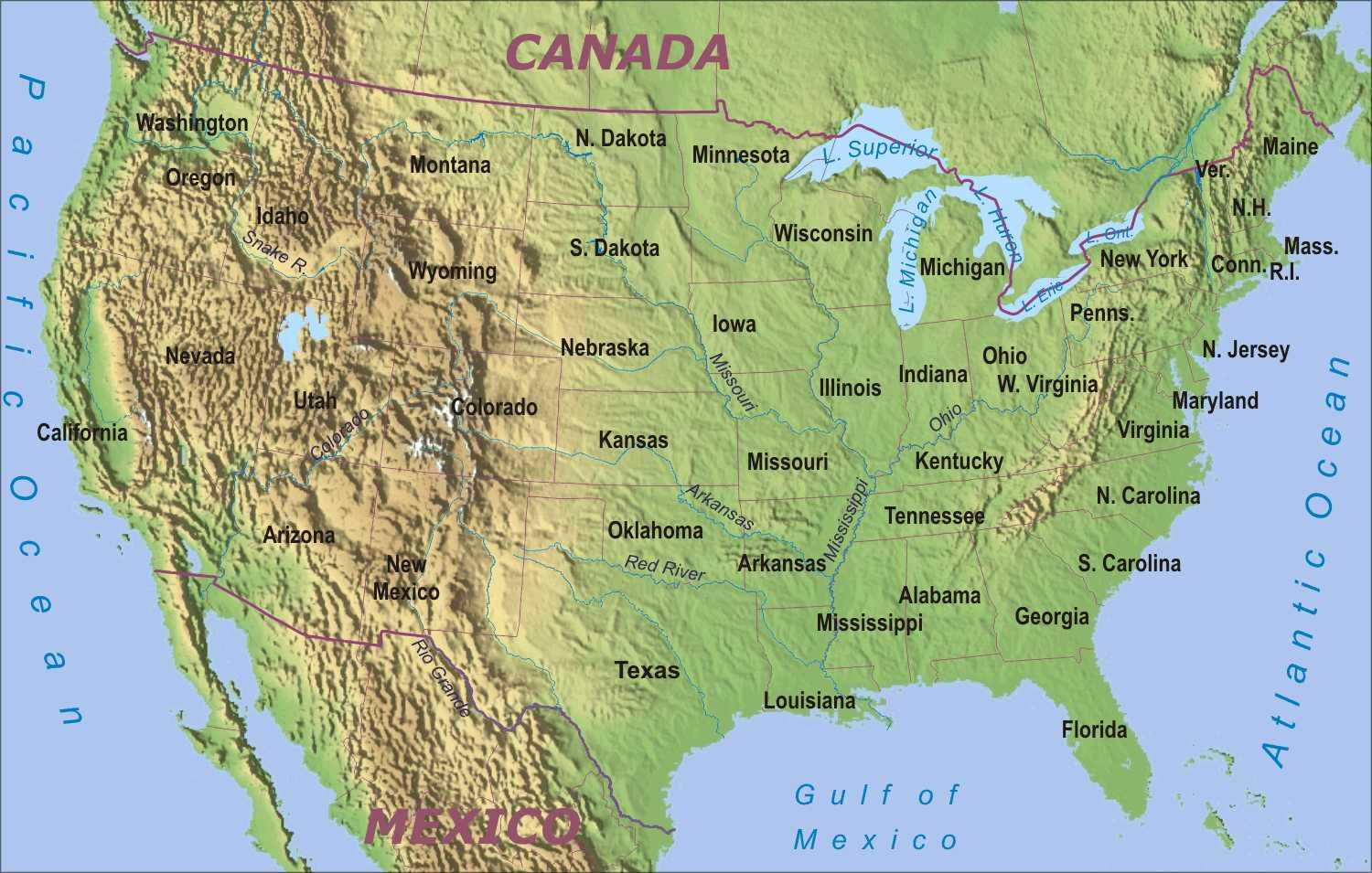 Physical map of the USA Map of USA physical Northern America