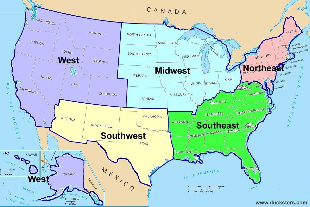 Regional Us Map Regional Map Of Us Northern America Americas
