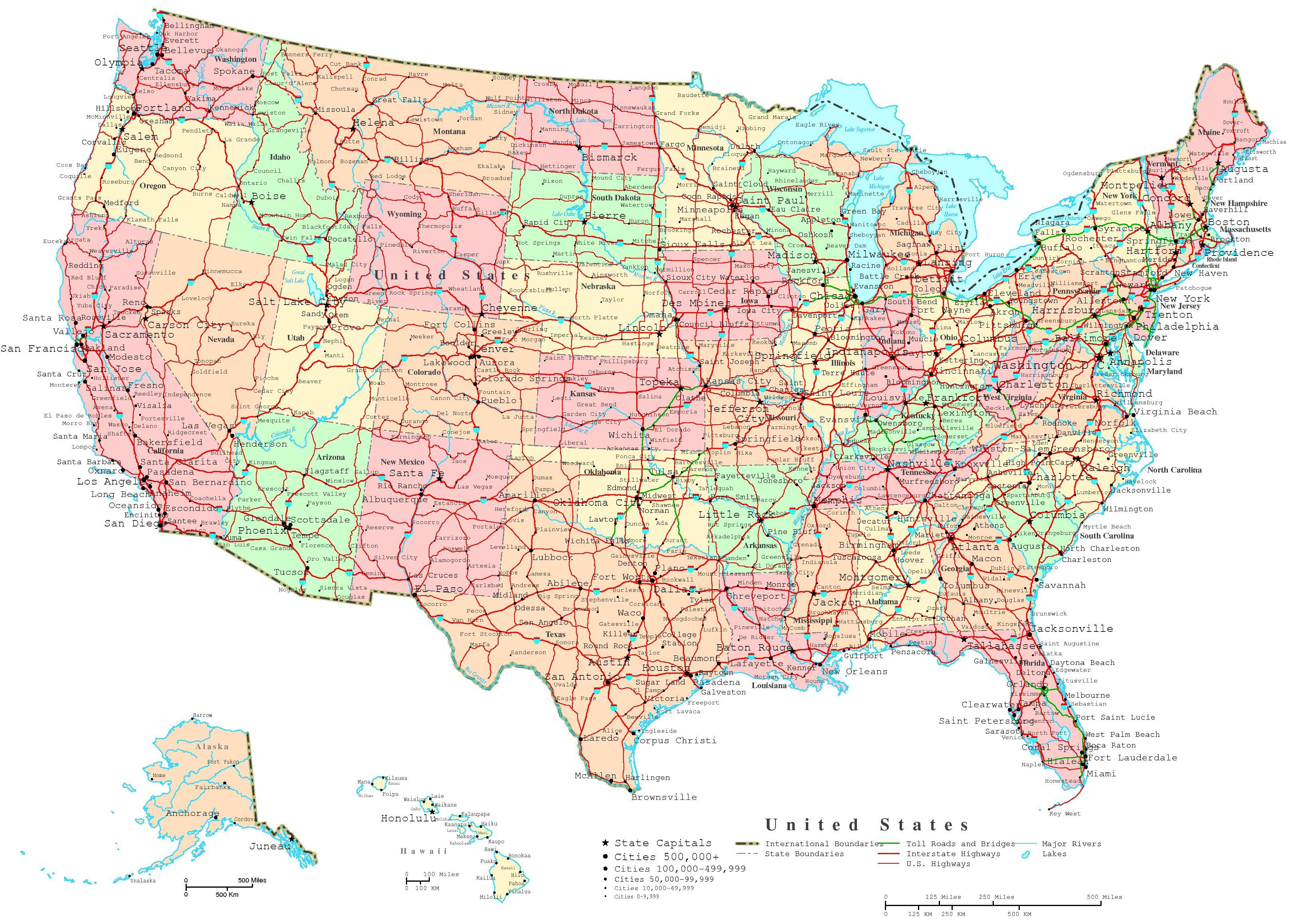 Road map north east USA - Road map of north east USA (Northern ...