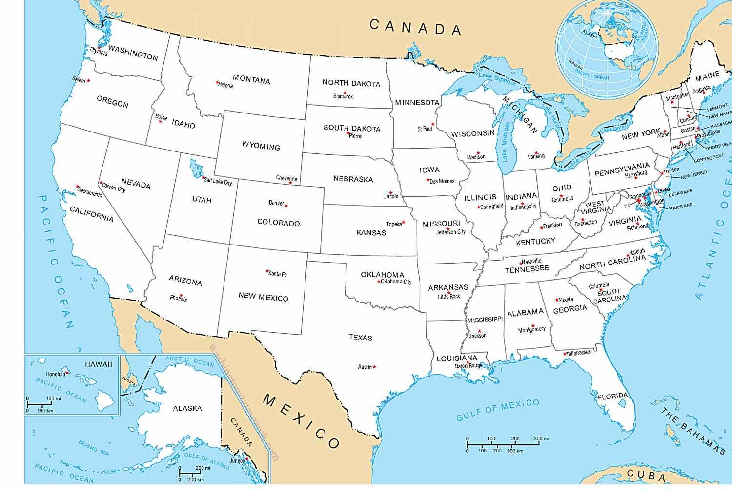 The 50 States map - Map of fifty States (Northern America - Americas)
