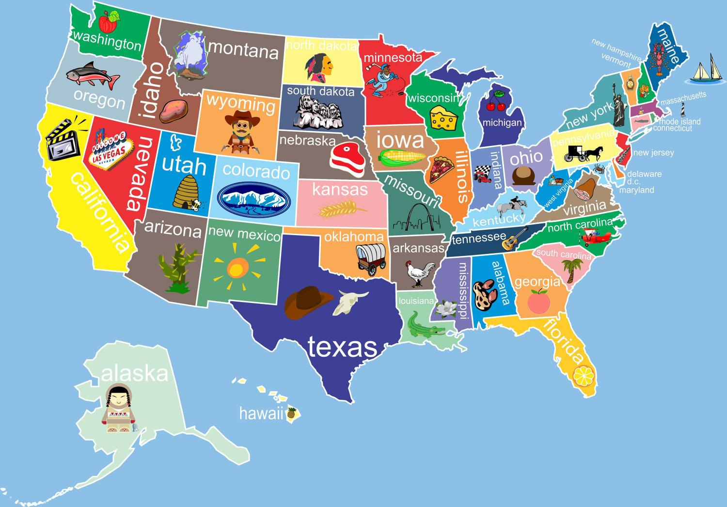 A Picture Of The Map Of The United States.United States States Map United States Map With States Northern