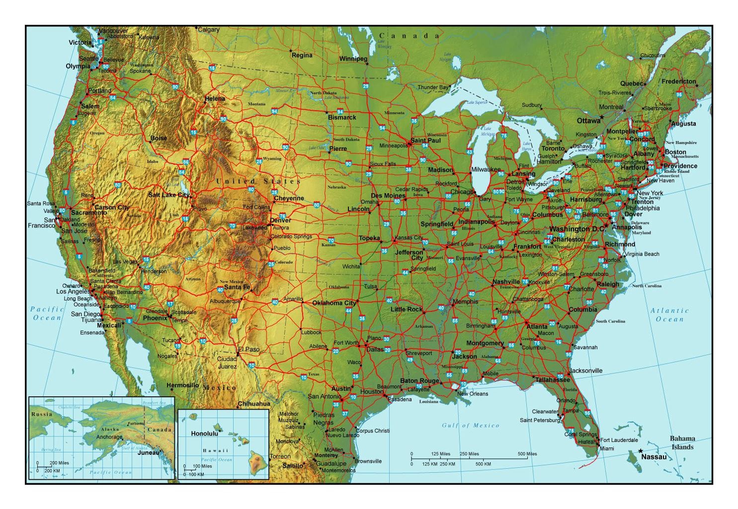US map with cities and highways - US map with major cities ...