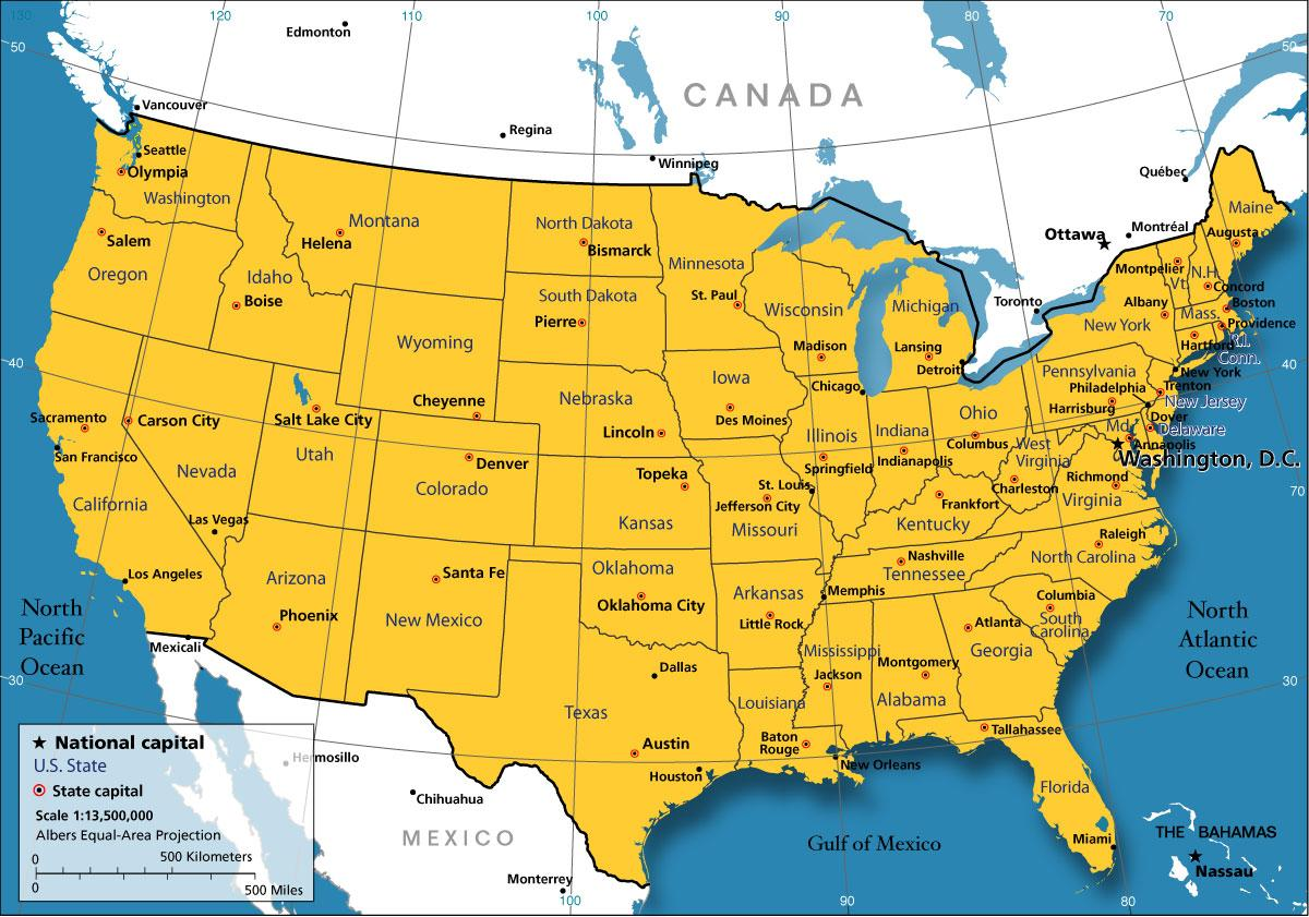 US map - Map in USA (Northern America - Americas)