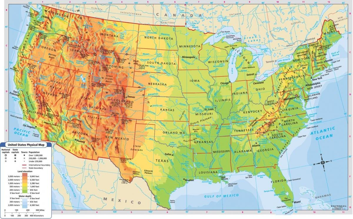 Altitude map USA   Altitude map of USA (Northern America   Americas)
