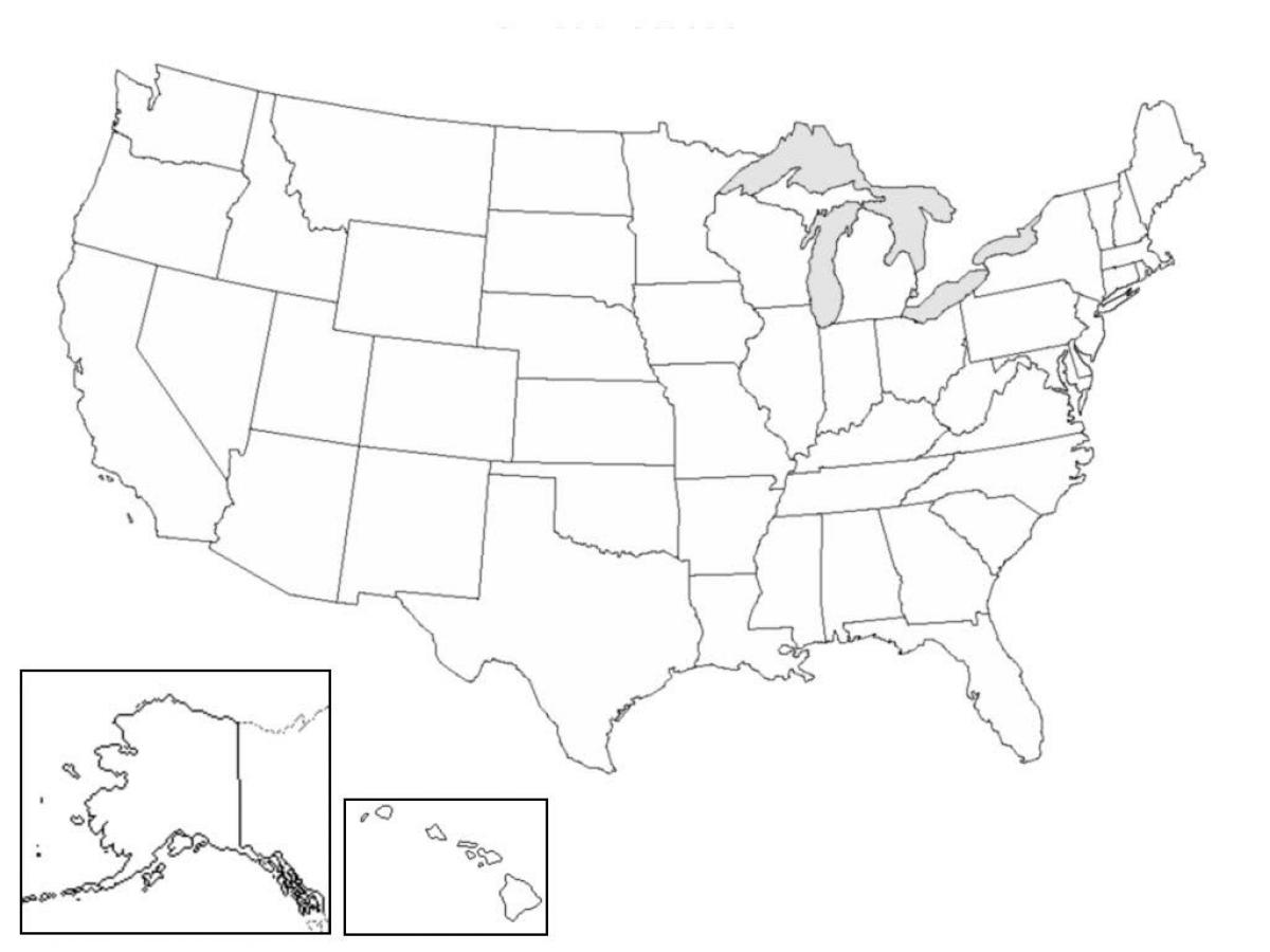 Blank US map - Blank map of US (Northern America - Americas)