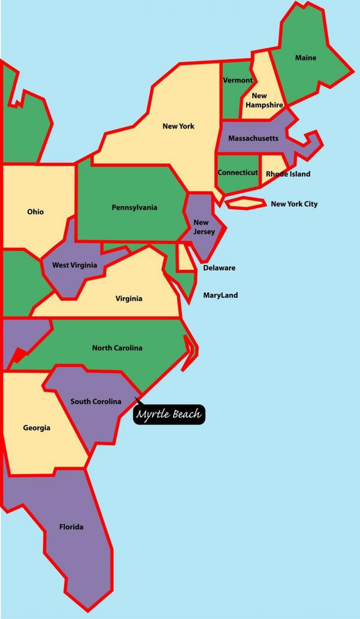 Map Of America East.Map Of Eastern Us Coast Map Of American East Coast