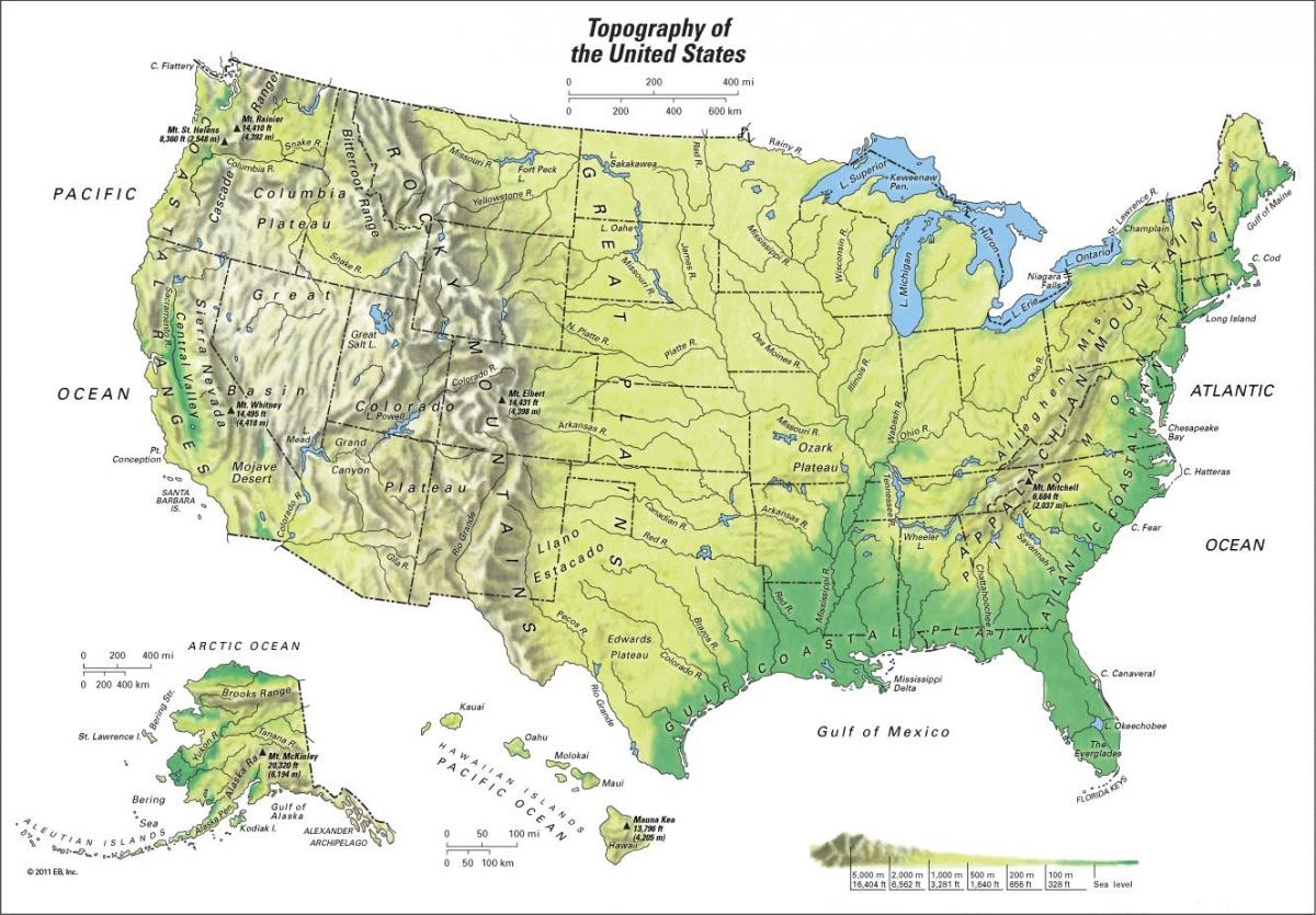 Map of mountain ranges in US - Mountain ranges US map (Northern ...