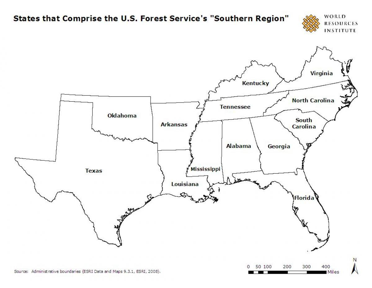 Southern Us States Map South America States Map Southern States - Map of southern us states