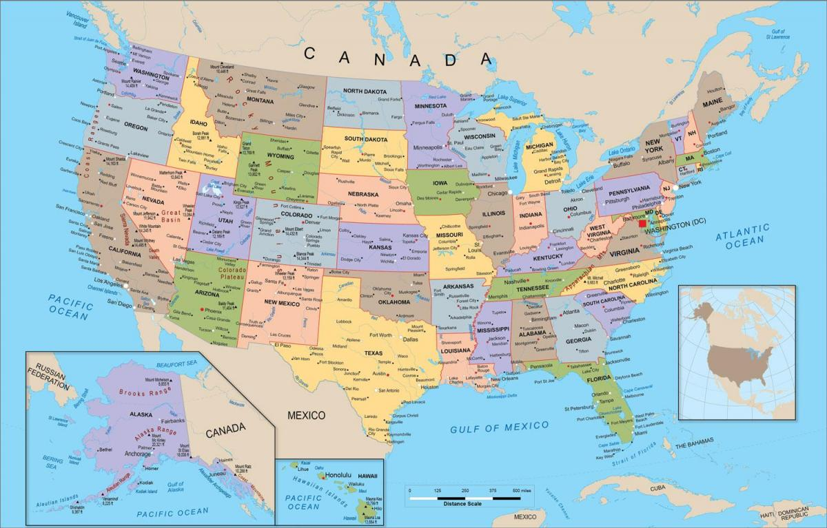 the map of the United States