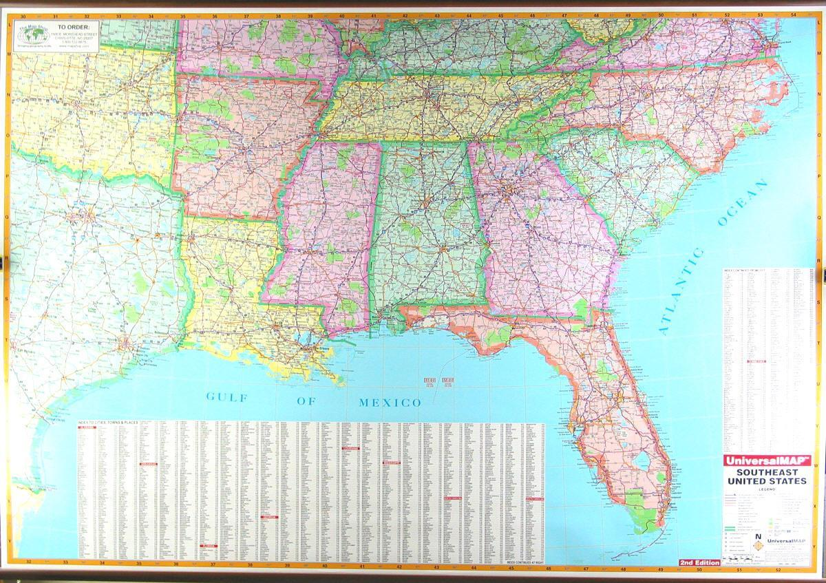 Road map of southeast US - Southeast US road map (Northern America ...