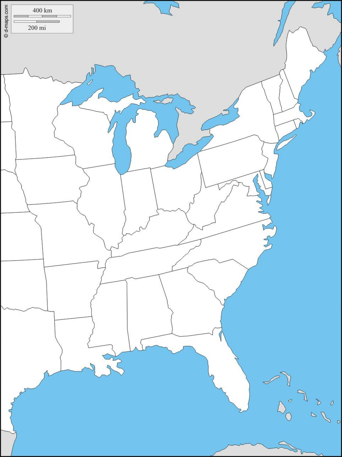 United States east coast map - East coast map of States ...