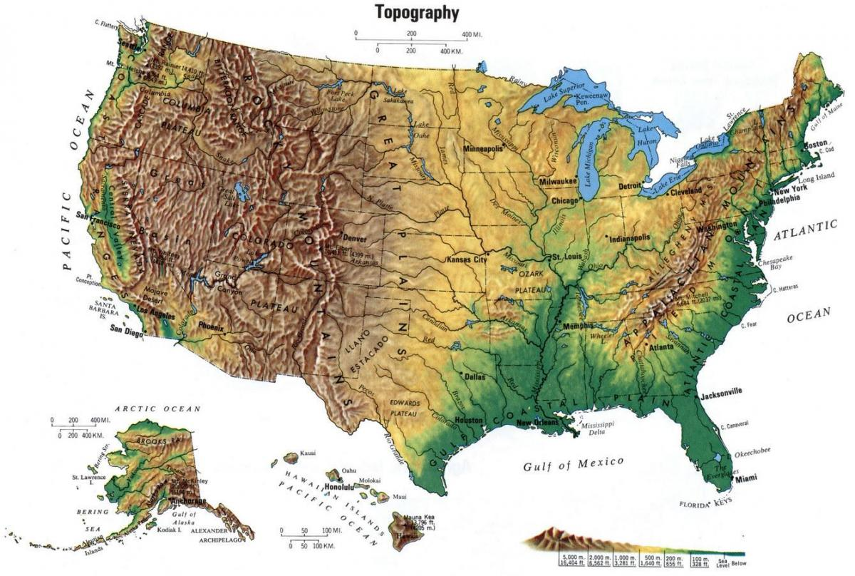 United States elevation map - Elevation map United States (Northern ...