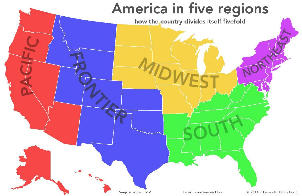 US map with regions - United States map regions (Northern America ...
