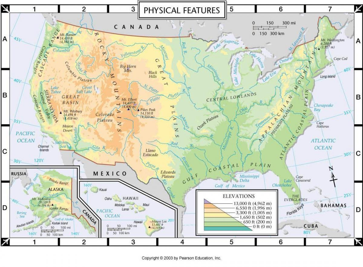 US physical features map Physical features US map Northern