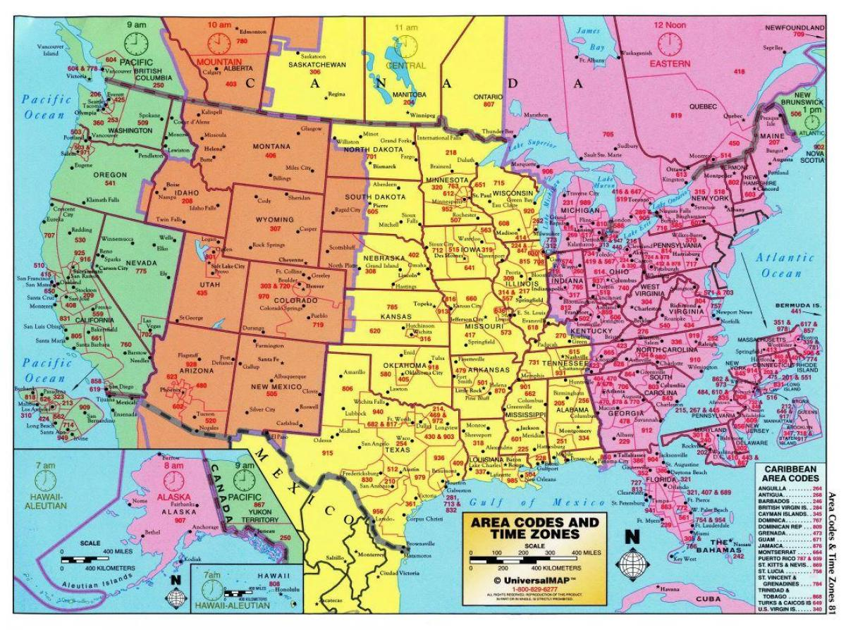 US timezone map - USA map with time zones (Northern America ...