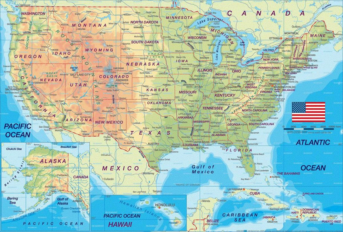 USA geography map USA map geography Northern America Americas